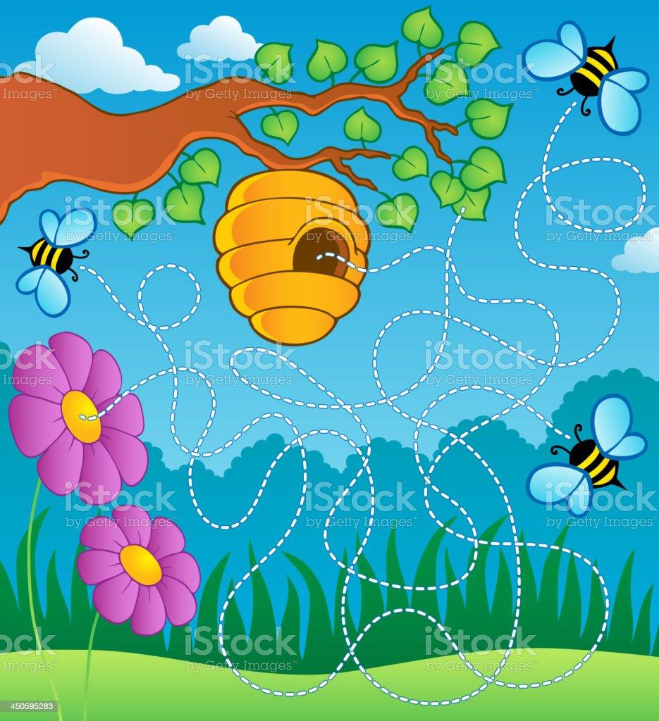 Bee theme maze royalty-free stock vector art