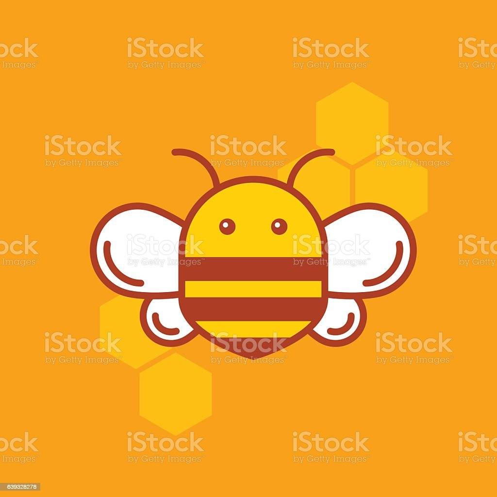 Bee thin lined icon. Bumblebee logotype design. vector art illustration