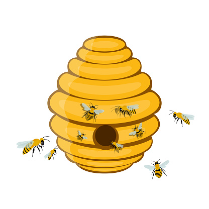 Bee tree hive vector design illustration isolated on white background
