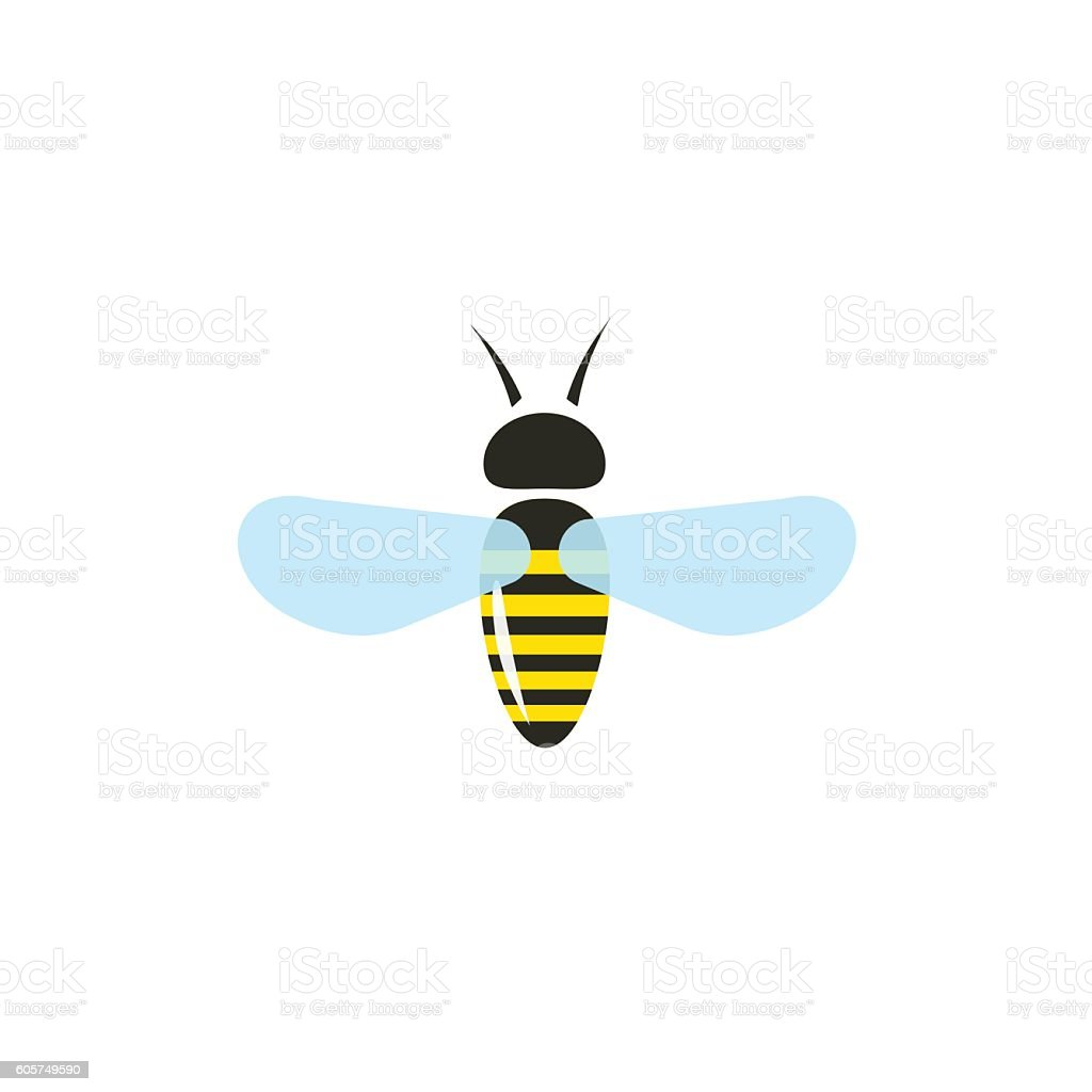 Bee Vector Isolated On White Background Flat Bumblebee Flying Stock