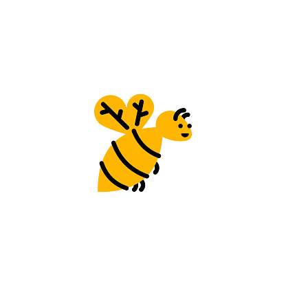 Bee. Vector logo in bold line style