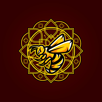 Bee Vector T-Shirt Designs With Mandala Background For Apparel