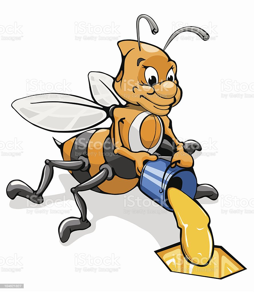 bee with a bucket of honey royalty-free bee with a bucket of honey stock vector art & more images of anthropomorphic smiley face