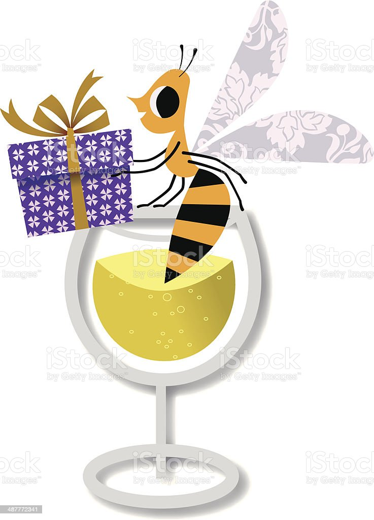 Bee With Gift. royalty-free stock vector art