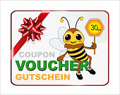 Bee with Gift Voucher over 30, - value, Voucher in French, English and German,