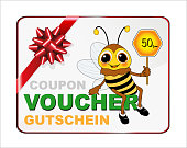 Bee with Gift Voucher over 50, - value, Voucher in French, English and German,