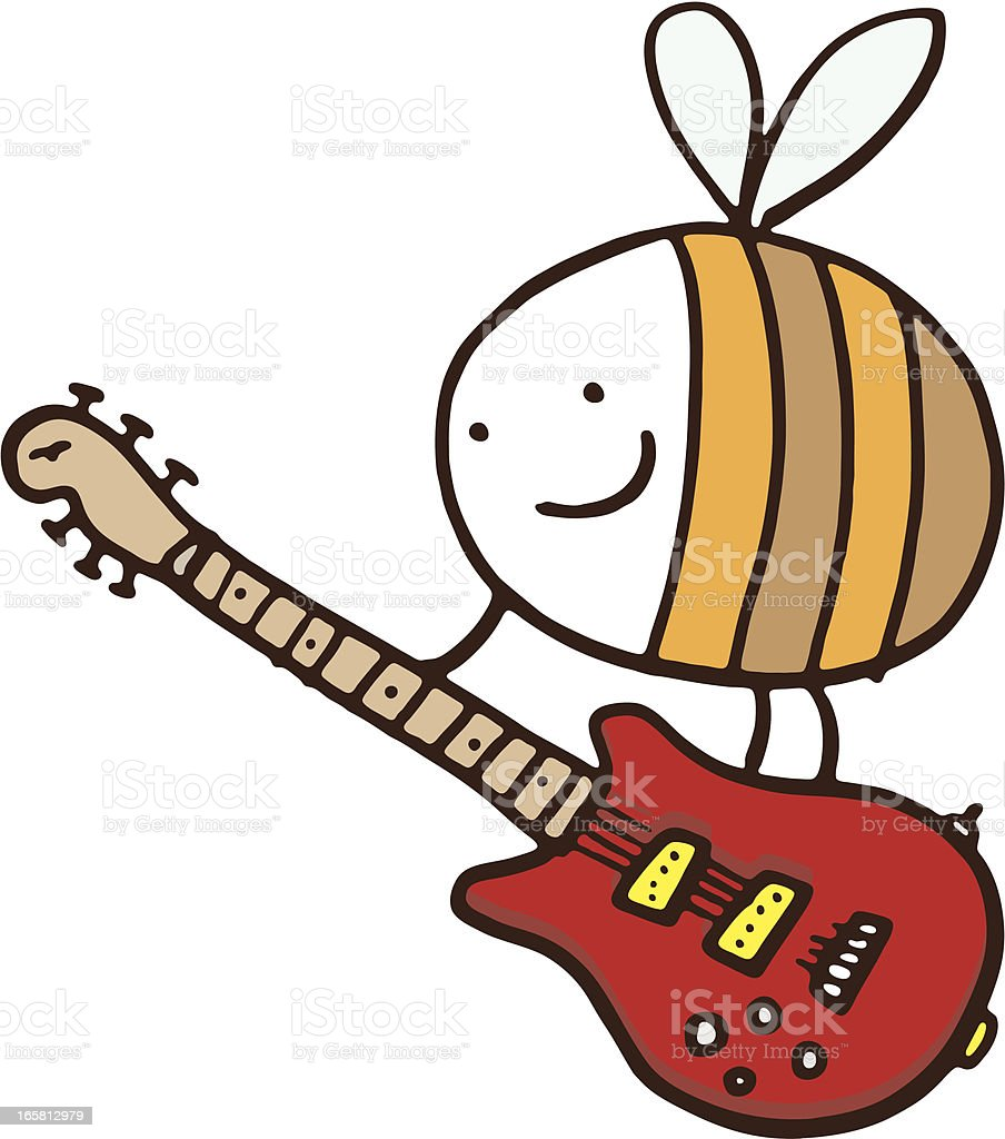 Bee with guitar vector art illustration