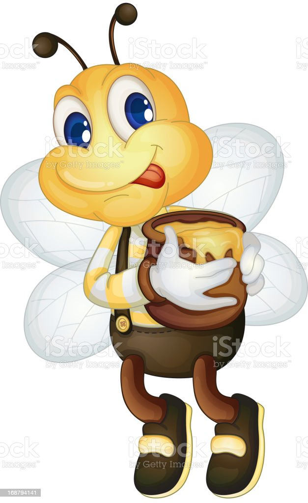 Bee with honey pot royalty-free stock vector art