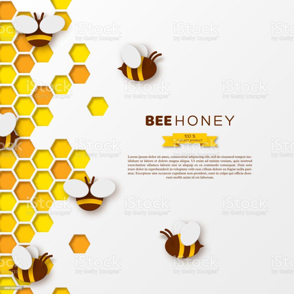 Biene Mit Waben Papier Schneiden Ctyle Templatedesign Für Beekiping