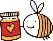 Bee with jar of honey