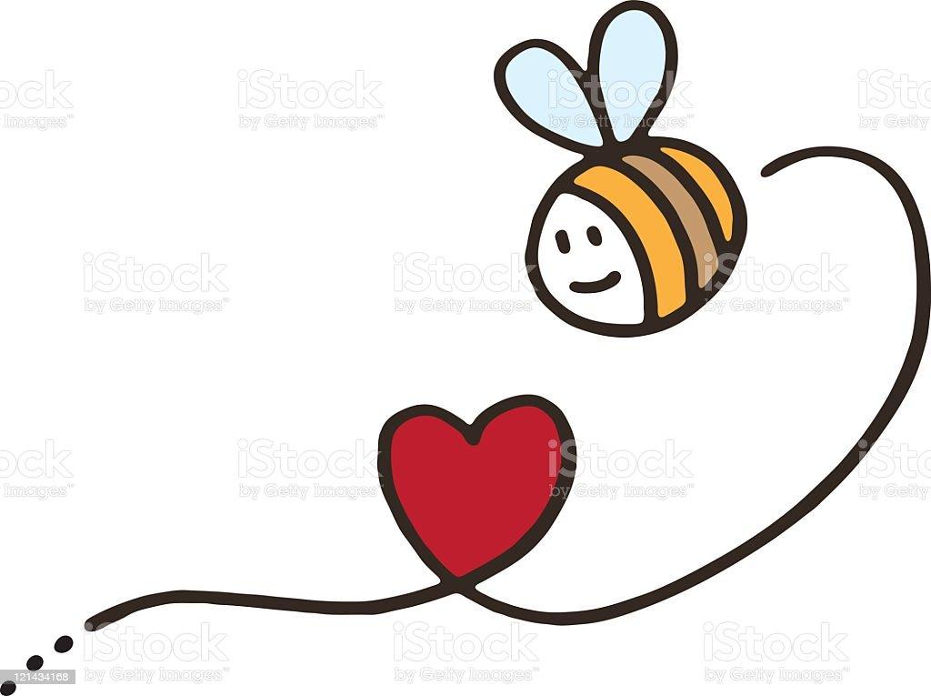 Biene mit Liebe Herz – Vektorgrafik