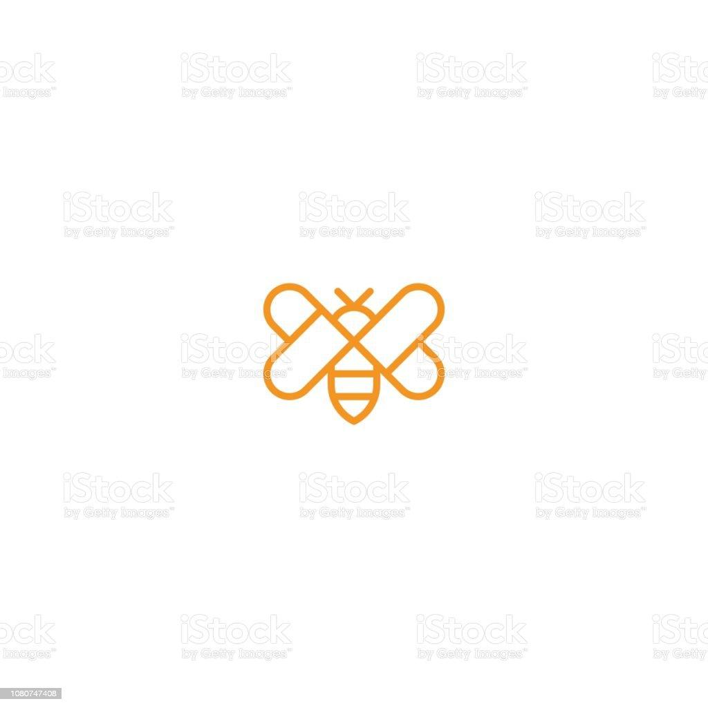 Abeille avec calibre d'icône amour aile - Illustration vectorielle
