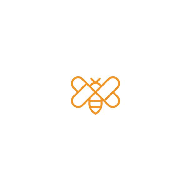 ilustrações de stock, clip art, desenhos animados e ícones de bee with love wing icon template - abelha