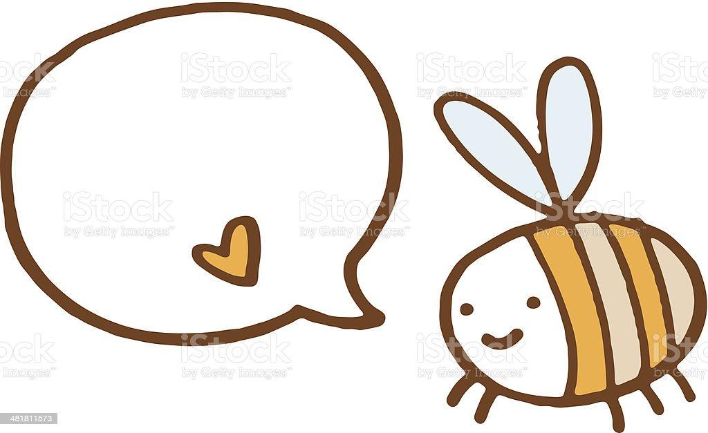 Biene mit Sprechblase und little love Herz – Vektorgrafik
