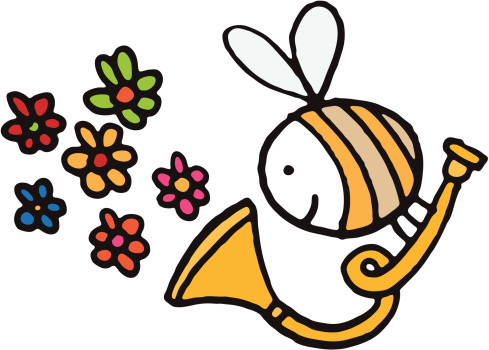 Bee with trumpet blowing flowers