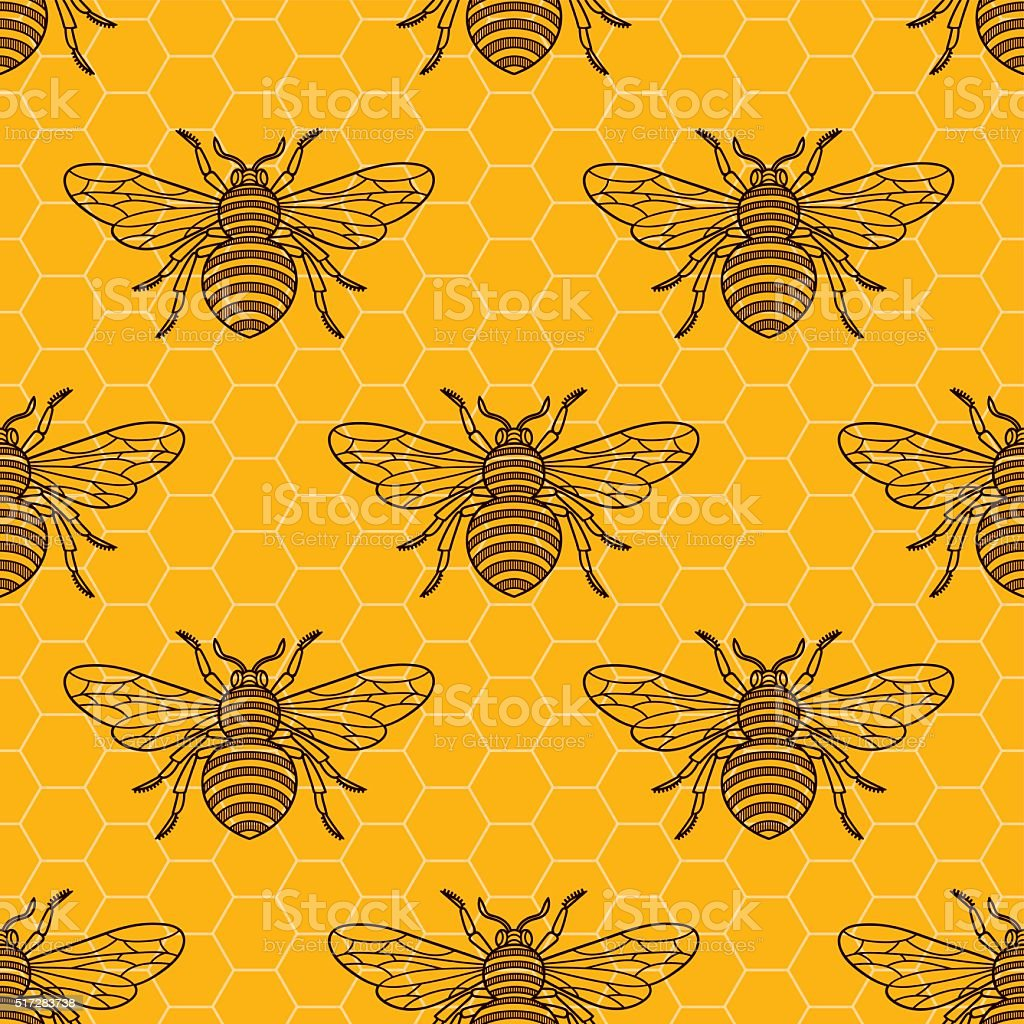bee_pattern vector art illustration