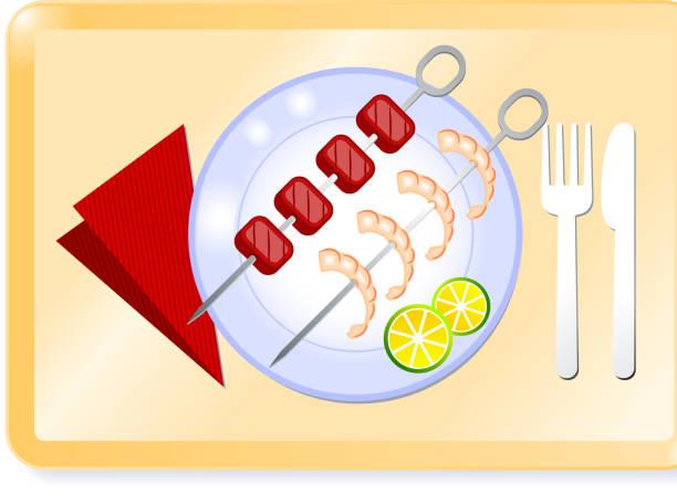 rindfleisch und garnelen-spieße auf ein tablett - plastikteller stock-grafiken, -clipart, -cartoons und -symbole
