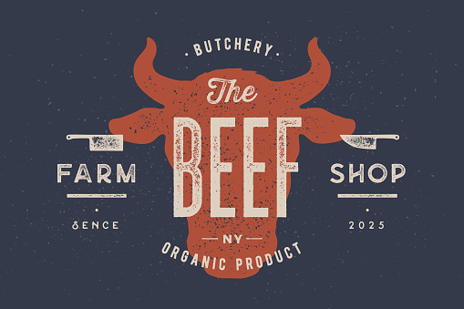 Beef, cow, bull. Vintage typography, lettering, retro print