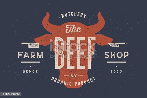 Beef, cow, bull. Vintage typography, lettering, retro print, poster for Butchery meat shop, cow head silhouette with lettering text Beef. Isolated silhouette cow head, meat theme. Vector Illustration
