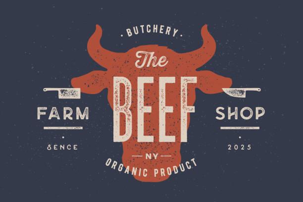 쇠고기, 소, 황소. 빈티지 타이포그래피, 레터링, 레트로 프린트 - 소고기 stock illustrations