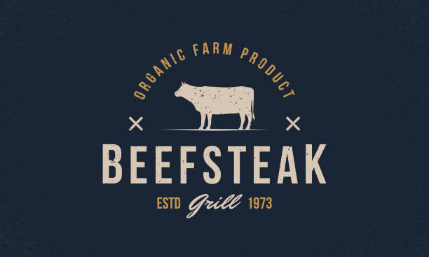 ilustrações de stock, clip art, desenhos animados e ícones de beef, cow logo. beef steak trendy logo, emblem, poster with cow, bull silhouette. graphic emblem template for grill, bbq, steak house, restaurant, butchery and meat shop. vector illustration - beef angus