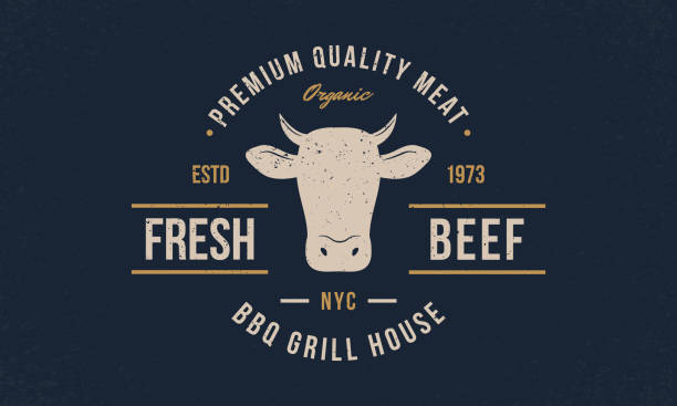 ilustrações de stock, clip art, desenhos animados e ícones de beef, cow logo. fresh beef trendy logo, emblem, poster with cow head. vintage typography. graphic emblem template for barbecue, steak house, restaurant, butchery and meat shop. vector illustration - beef angus
