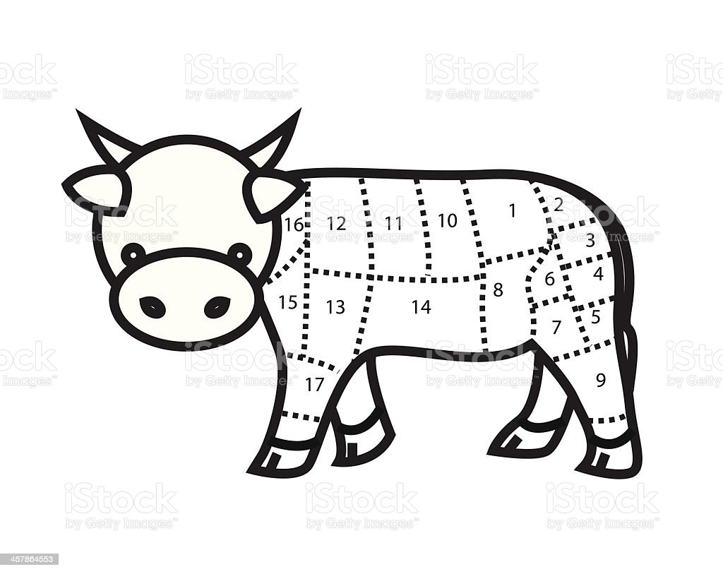 Beef Cuts Chart (cow) isolated on white background. vector royalty-free beef cuts chart isolated on white background vector stock vector art & more images of affectionate