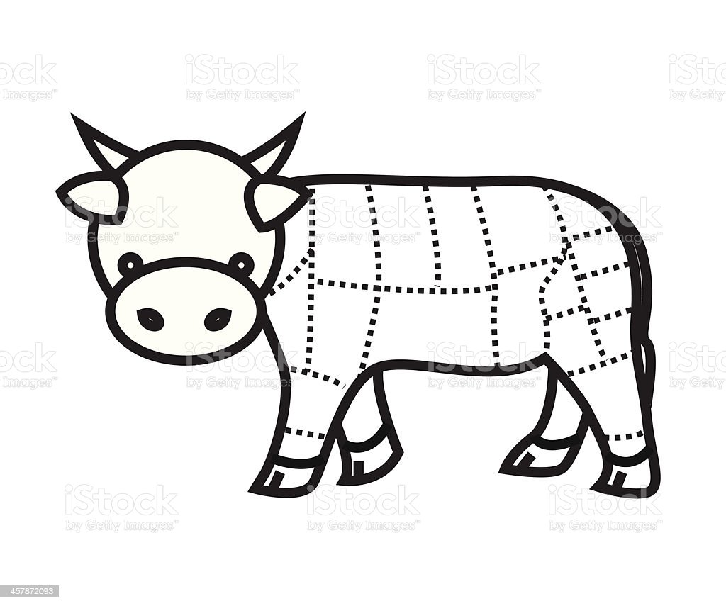 Beef Cuts Chart  isolated on white background  vector vector art illustration