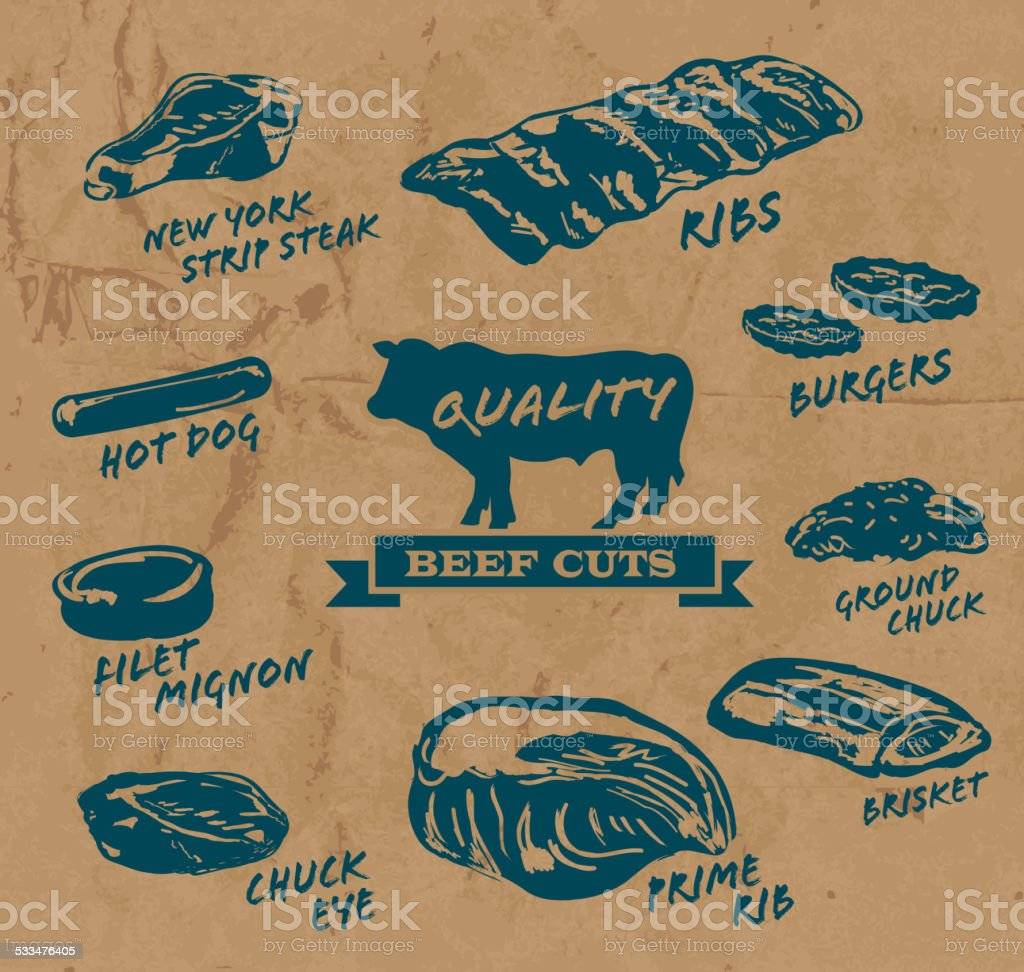 Beef cuts with text on paper background blue text vector art illustration