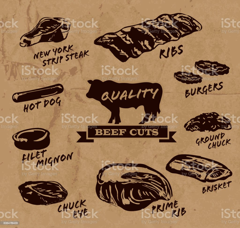 Beef cuts with text on paper background with black text vector art illustration
