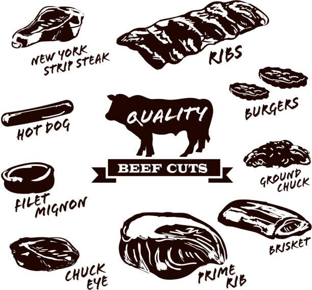 ilustrações de stock, clip art, desenhos animados e ícones de cortes de carne de bovino com texto em fundo branco - beef angus