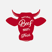 Beef label, print, poster for butcher shop, farmer market, steak house.