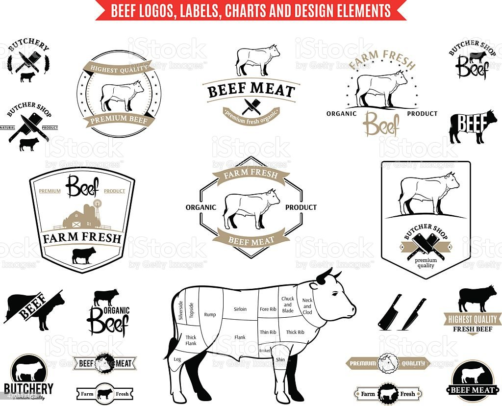 Beef  Labels, Charts and Design Elements vector art illustration