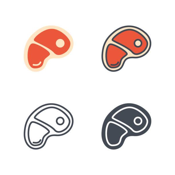 rind fleisch essen vektor icon flache linie silhouette farbig - lachskuchen stock-grafiken, -clipart, -cartoons und -symbole