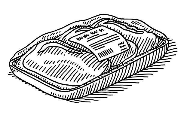 beef verpackung supermarkt-zeichnung - vakuumverpackung stock-grafiken, -clipart, -cartoons und -symbole