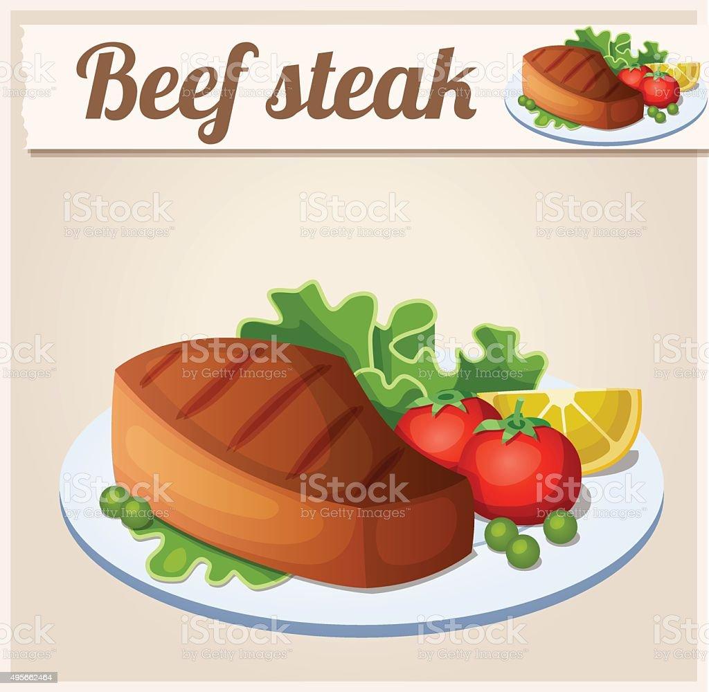 Beef steak. Detailed Vector Icon vector art illustration
