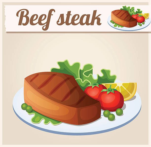 beef steak. detaillierte vektor-symbol - roastbeef stock-grafiken, -clipart, -cartoons und -symbole