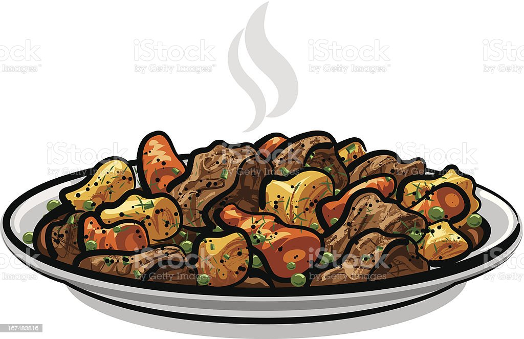 Beef stew with vegetables royalty-free stock vector art