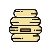 Beehive, bee hive thin line flat style icon