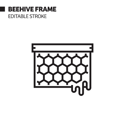 Beehive Frame Line Icon, Outline Vector Symbol Illustration. Pixel Perfect, Editable Stroke.