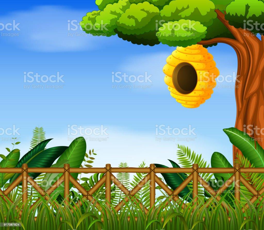 Bienenstock Im Garten Stock Vektor Art Und Mehr Bilder Von Baum