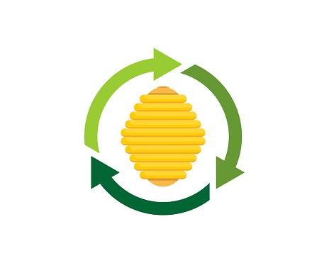 Beehive inside the green arrow rotation logo