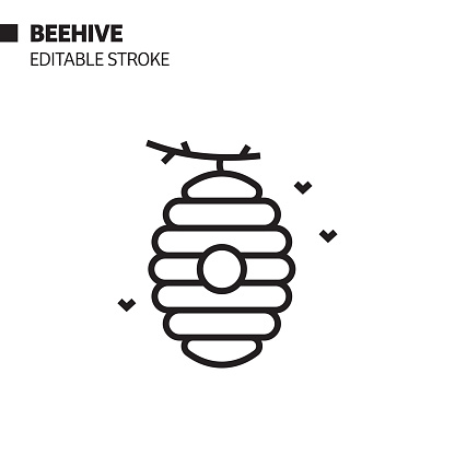 Beehive Line Icon, Outline Vector Symbol Illustration. Pixel Perfect, Editable Stroke.