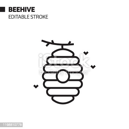 Beehive Line Icon, Outline Vector Symbol Illustration. Pixel Perfect, Editable Stroke.