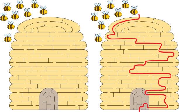 Labirinto de colmeia - ilustração de arte em vetor