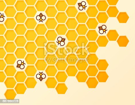 Beehive and bees abstract symbols.