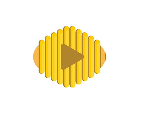 Beehive with play button in the middle