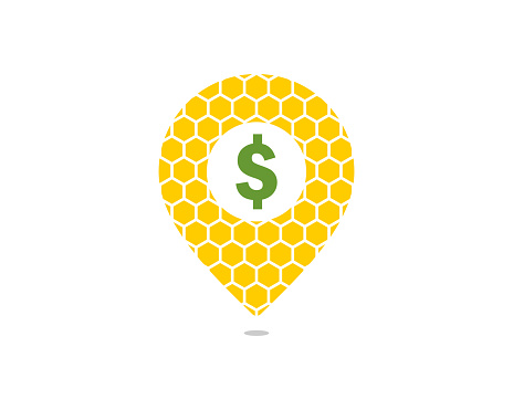 Beehive with pointer location shape and dollar symbol in the middle