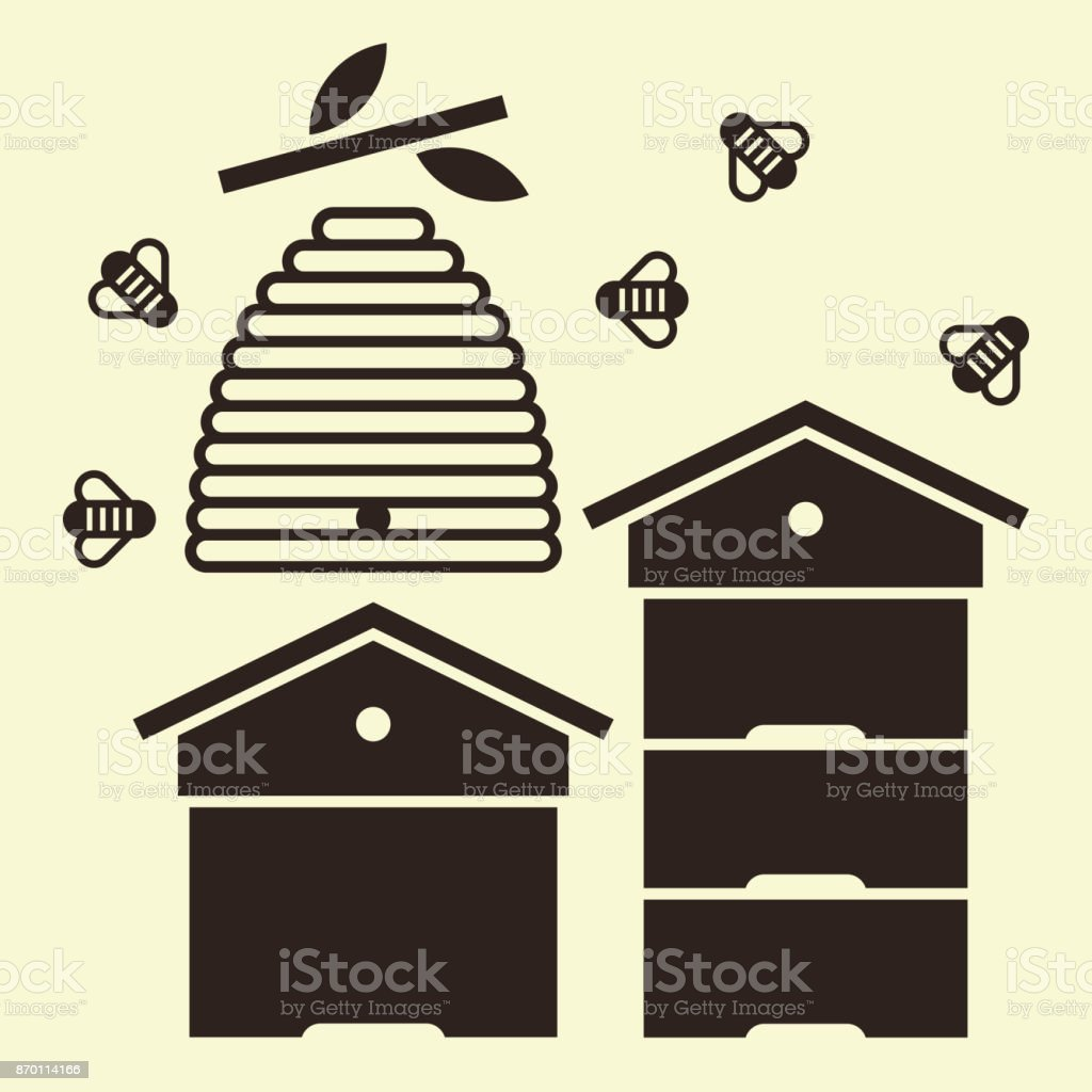 Beehives and bees vector art illustration