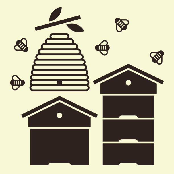 Beehives and bees Beehives and bees. Beekeeping symbol beehive stock illustrations